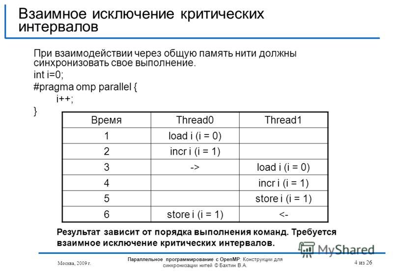 4 из 26 При взаимодействии через общую память нити должны синхронизовать свое выполнение. int i=0; #pragma omp parallel { i++; } Взаимное исключение критических интервалов Москва, 2009 г. Результат зависит от порядка выполнения команд. Требуется взаи