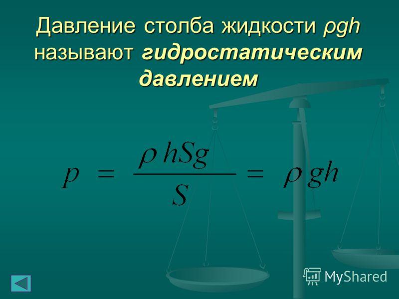 Давление жидкости на дно или боковые стенки сосуда зависит от высоты столба жидкости Сила давления на дно цилиндрического сосуда высоты h и площади основания S равна весу столба жидкости mg, где m = ρghS – масса жидкости в сосуде, ρ – плотность жидко