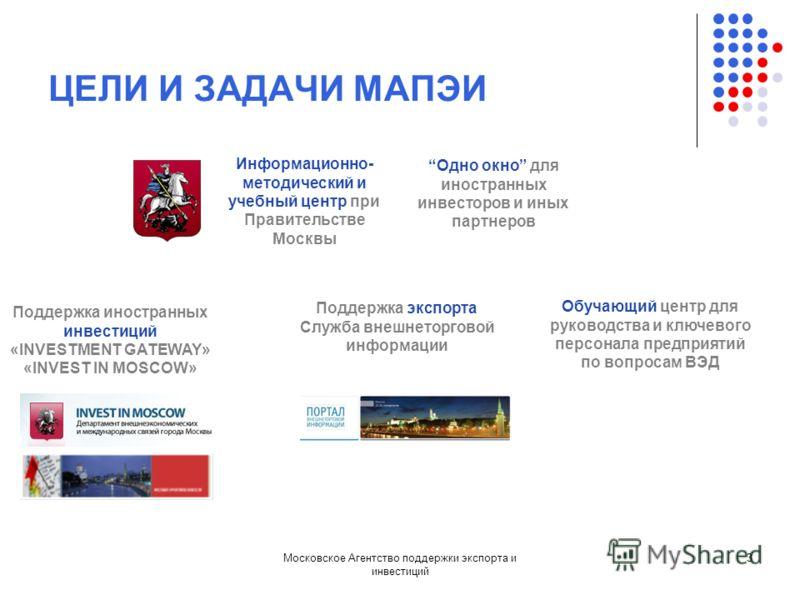 Московское Агентство поддержки экспорта и инвестиций 3 ЦЕЛИ И ЗАДАЧИ МАПЭИ Информационно- методический и учебный центр при Правительстве Москвы Поддержка иностранных инвестиций «INVESTMENT GATEWAY» «INVEST IN MOSCOW» Одно окно для иностранных инвесто