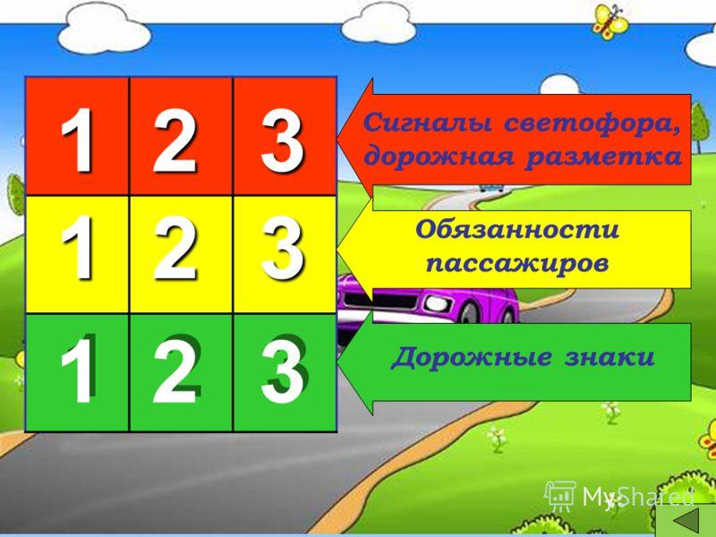 1111 2222 3333 1111 2222 3333 1 1 2 2 3 3 Сигналы светофора, дорожная разметка Обязанности пассажиров Дорожные знаки