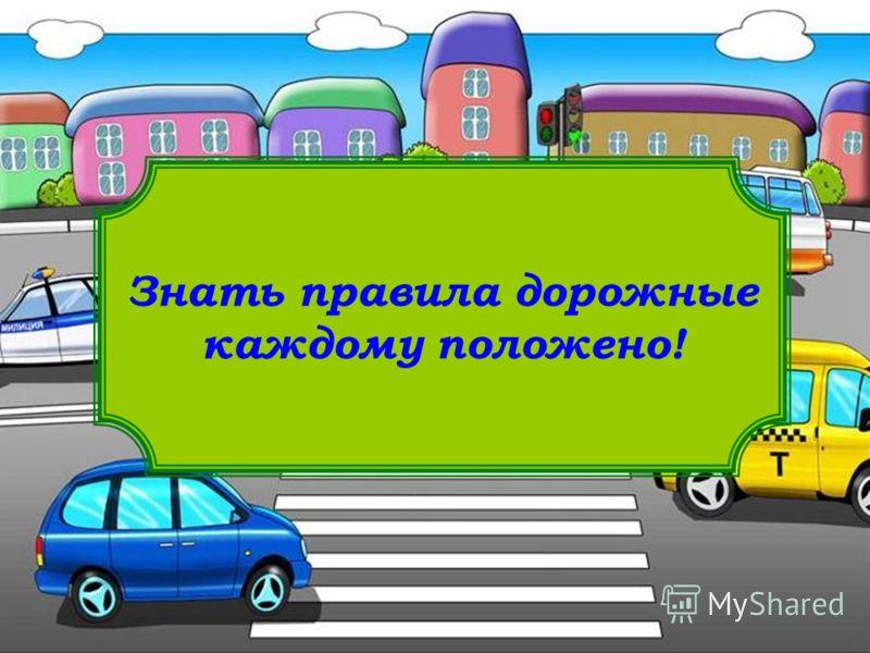 Знать правила дорожные каждому положено!