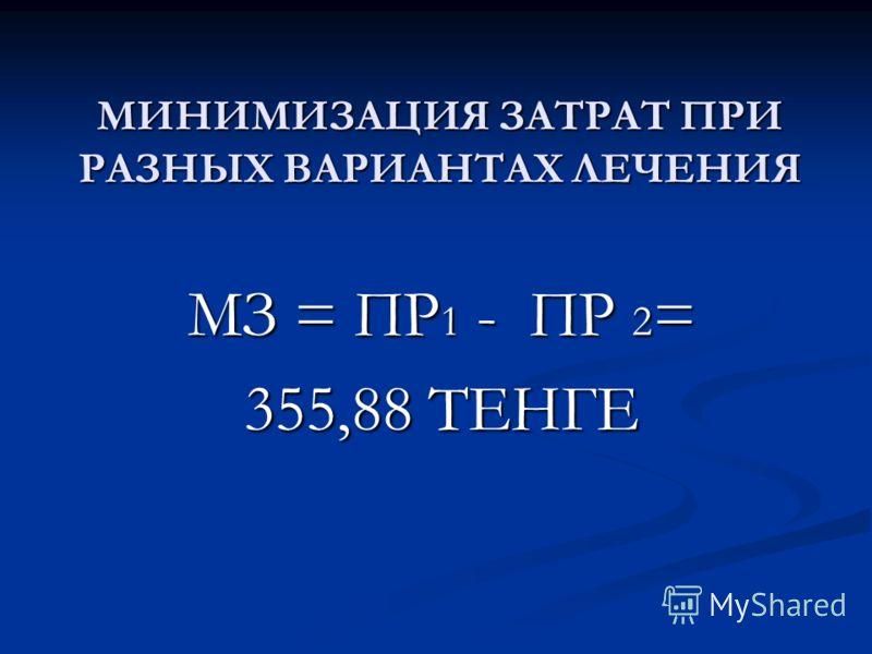 МИНИМИЗАЦИЯ ЗАТРАТ ПРИ РАЗНЫХ ВАРИАНТАХ ЛЕЧЕНИЯ МЗ = ПР 1 - ПР 2 = 355,88 ТЕНГЕ