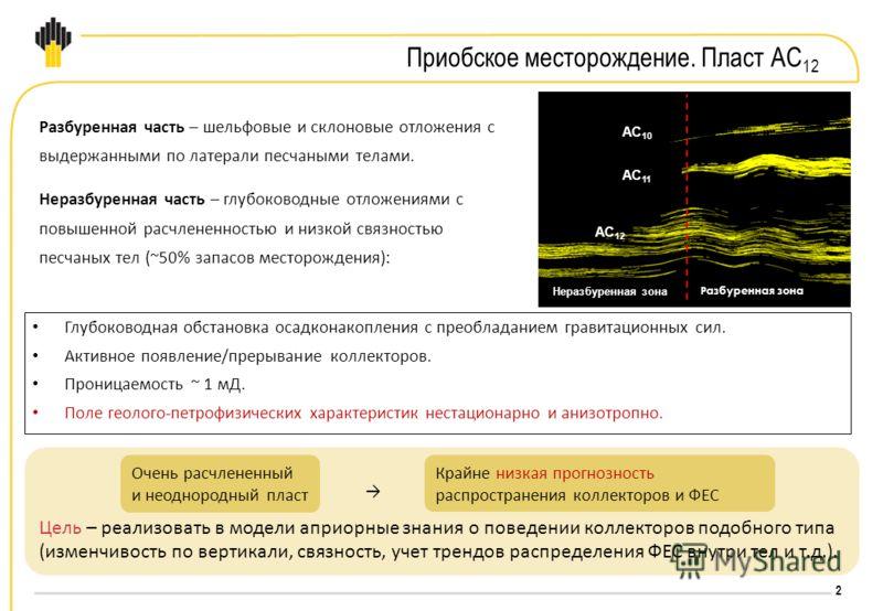 2 Глубоководная обстановка осадконакопления с преобладанием гравитационных сил. Активное появление/прерывание коллекторов. Проницаемость ~ 1 мД. Поле геолого-петрофизических характеристик нестационарно и анизотропно. Цель – реализовать в модели априо