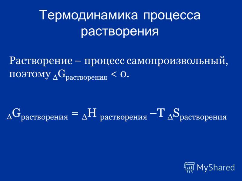 Термодинамика процесса растворения Растворение – процесс самопроизвольный, поэтому G растворения < 0. G растворения = Н растворения –Т S растворения
