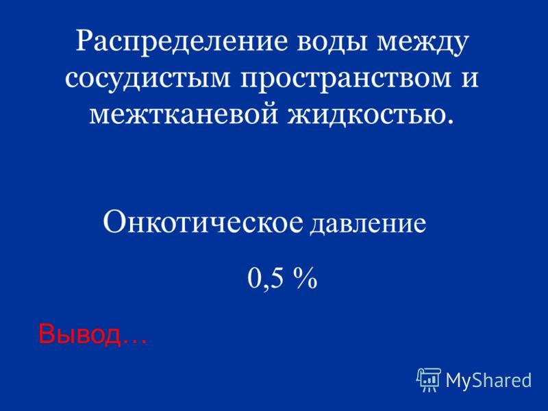 Распределение воды между сосудистым пространством и межтканевой жидкостью. Вывод… Онкотическое давление 0,5 %