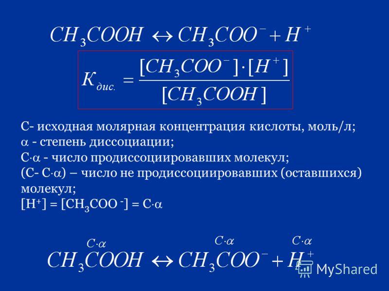 С- исходная молярная концентрация кислоты, моль/л; - степень диссоциации; С - число продиссоциировавших молекул; (С- С ) – число не продиссоциировавших (оставшихся) молекул; [H + ] = [CH 3 COO - ] = С