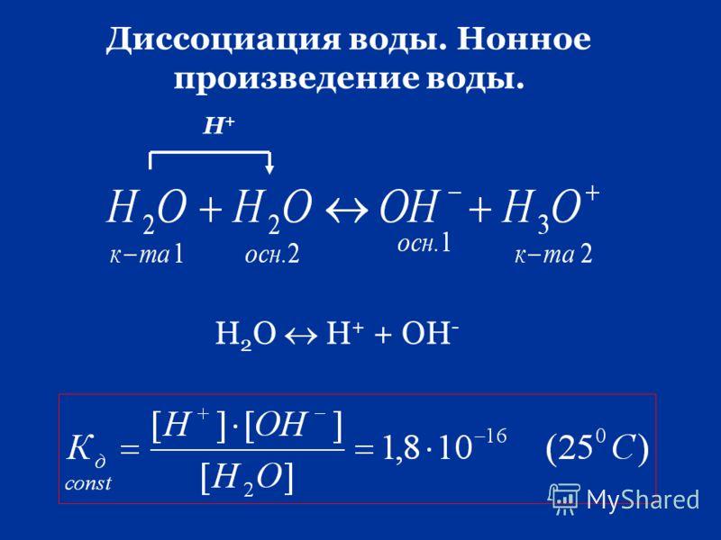 Диссоциация воды. Нонное произведение воды. Н 2 О Н + + ОН - Н+Н+