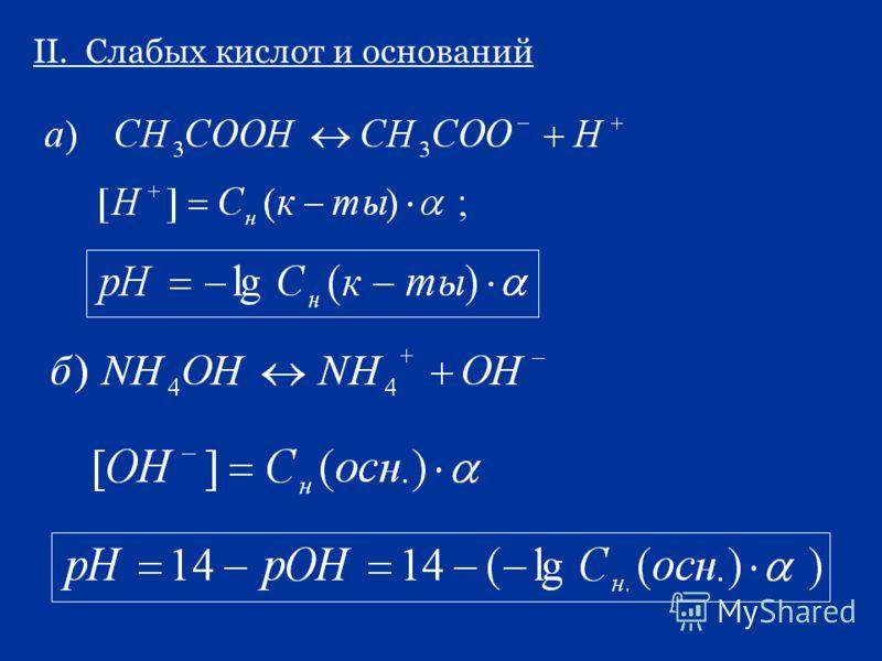 II. Слабых кислот и оснований
