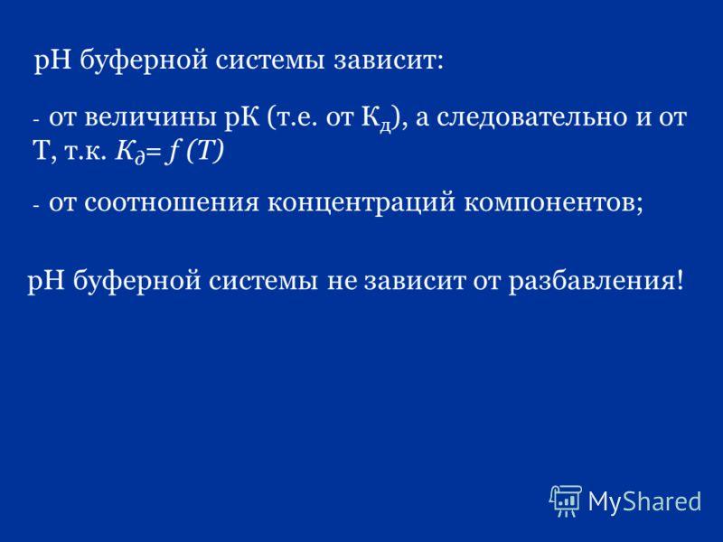 рН буферной системы зависит: - от величины рК (т.е. от К д ), а следовательно и от Т, т.к. К д = f (Т) - от соотношения концентраций компонентов; рН буферной системы не зависит от разбавления!