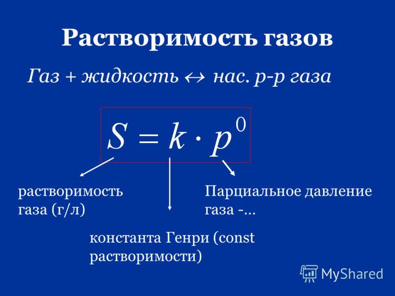 Растворимость газов Газ + жидкость нас. р-р газа растворимость газа (г/л) Парциальное давление газа -… константа Генри (const растворимости)