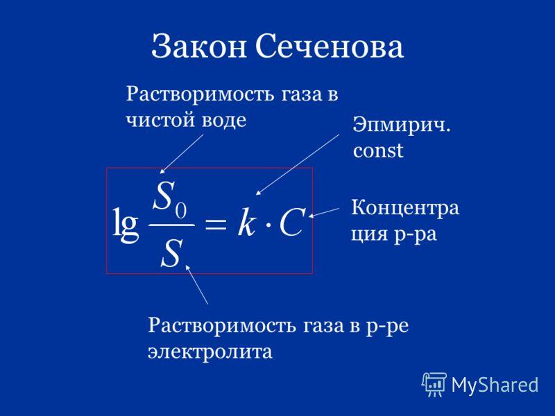 Закон Сеченова Растворимость газа в чистой воде Концентра ция р-ра Растворимость газа в р-ре электролита Эпмирич. const
