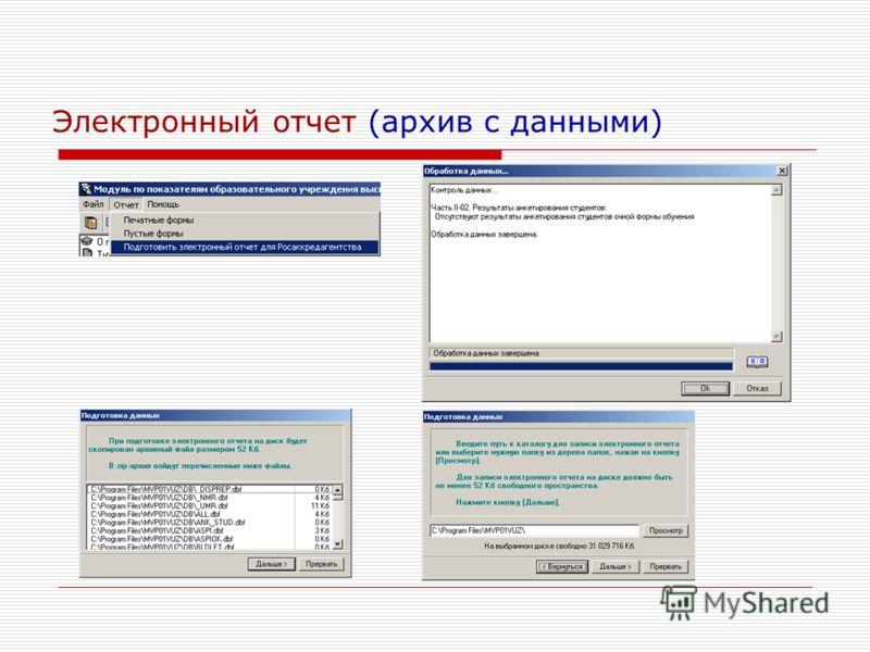 Электронный отчет (архив с данными)