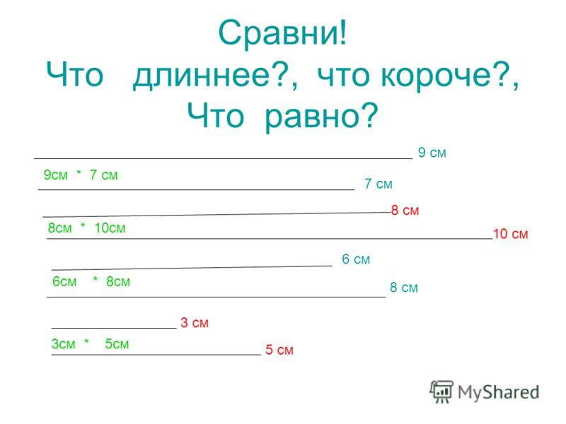 Сравни! Что длиннее?, что короче?, Что равно? 9 см 7 см 8 см 10 см 6 см 8 см 3 см 5 см 9см * 7 см 8см * 10см 6см * 8см 3см * 5см