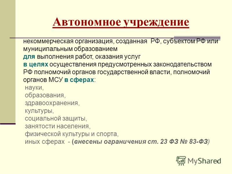 44 Автономное учреждение некоммерческая организация, созданная РФ, субъектом РФ или муниципальным образованием для выполнения работ, оказания услуг в целях осуществления предусмотренных законодательством РФ полномочий органов государственной власти,