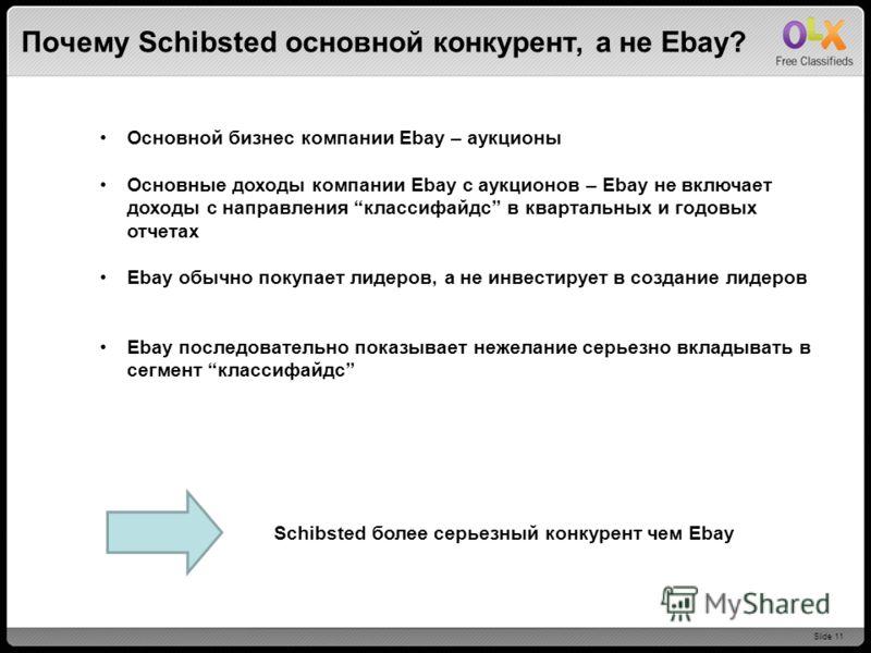 Slide 11 Почему Schibsted основной конкурент, а не Ebay? Основной бизнес компании Ebay – аукционы Основные доходы компании Ebay с аукционов – Ebay не включает доходы с направления классифайдс в квартальных и годовых отчетах Ebay обычно покупает лидер
