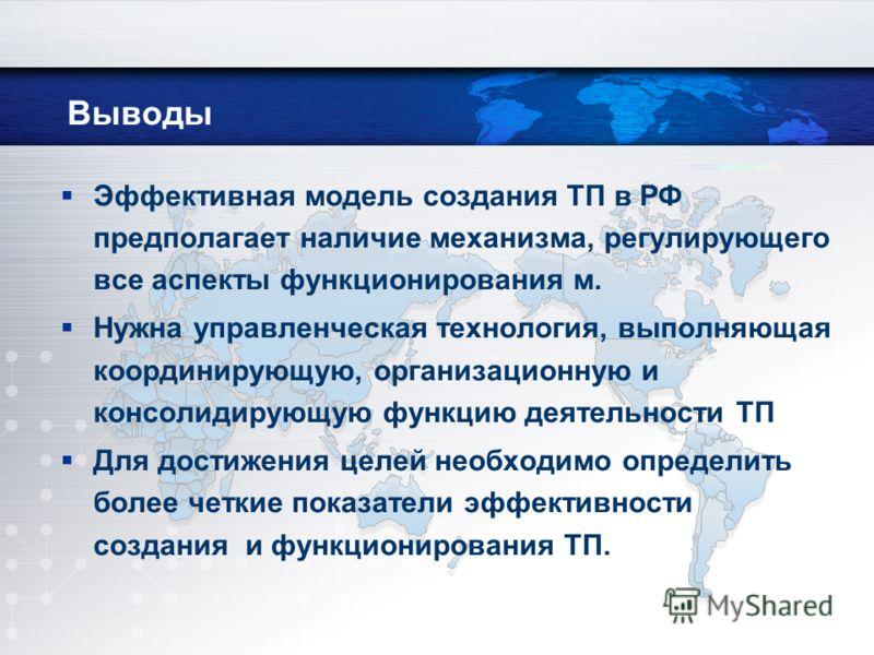 Выводы Эффективная модель создания ТП в РФ предполагает наличие механизма, регулирующего все аспекты функционирования м. Нужна управленческая технология, выполняющая координирующую, организационную и консолидирующую функцию деятельности ТП Для достиж