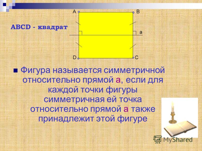 Фигура называется симметричной относительно прямой а, если для каждой точки фигуры симметричная ей точка относительно прямой а также принадлежит этой фигуре АВ СD а АВСD - квадрат