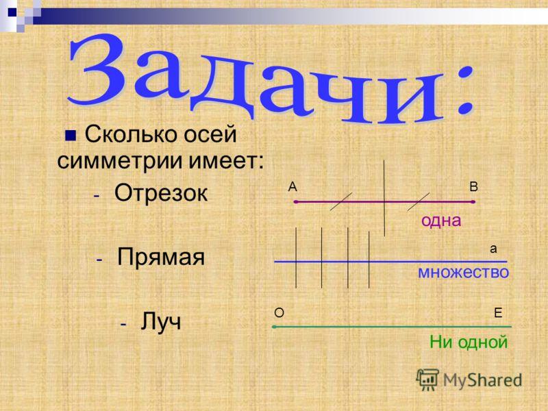 Сколько осей симметрии имеет: -О-Отрезок -П-Прямая -Л-Луч АВ а ОЕ одна множество Ни одной