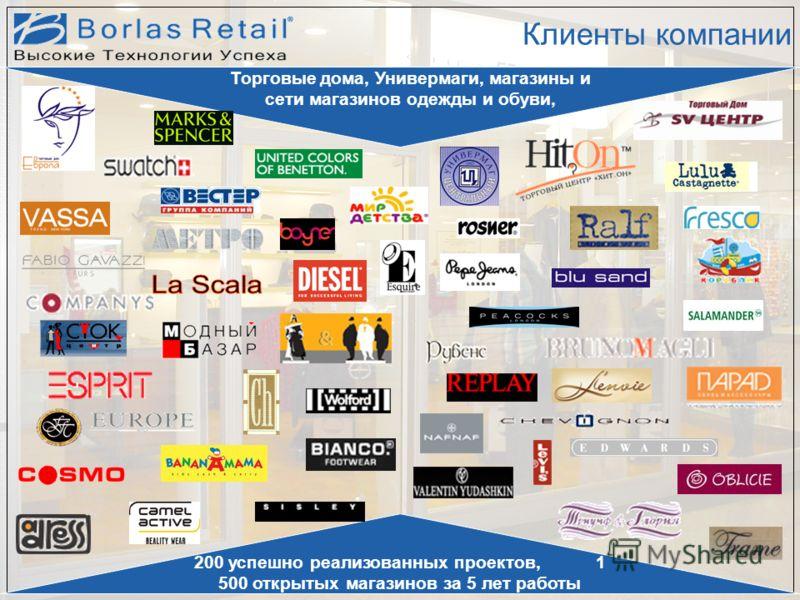 Клиенты компании 200 успешно реализованных проектов, 1 500 открытых магазинов за 5 лет работы Торговые дома, Универмаги, магазины и сети магазинов одежды и обуви,
