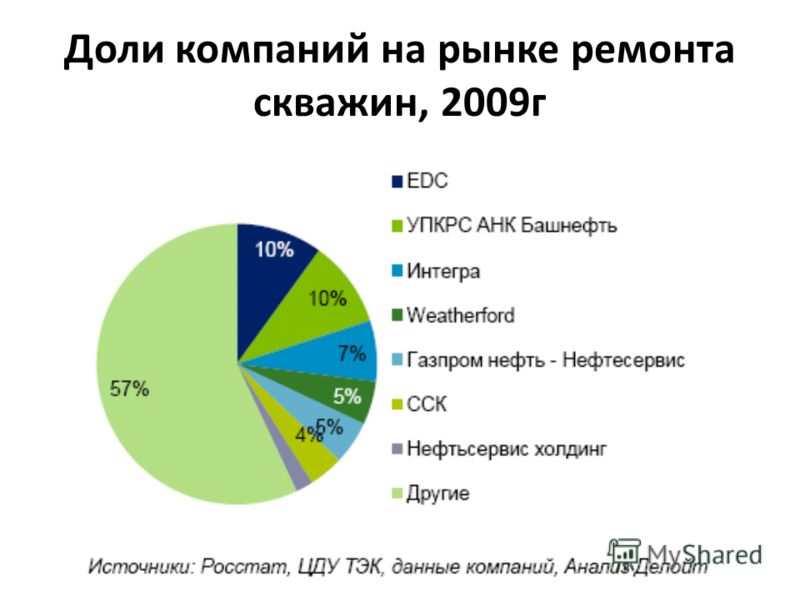 Доли компаний на рынке ремонта скважин, 2009г