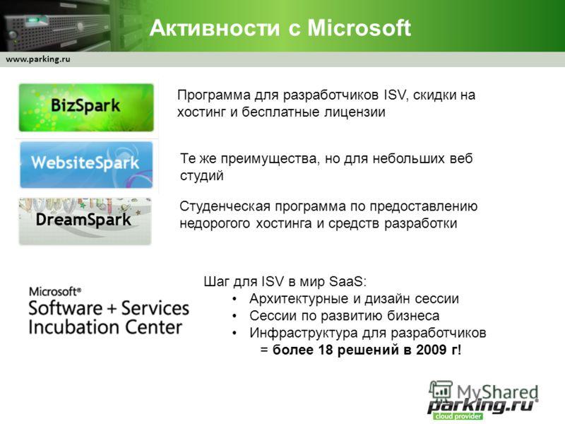 www.parking.ru Активности с Microsoft Программа для разработчиков ISV, скидки на хостинг и бесплатные лицензии Те же преимущества, но для небольших веб студий Студенческая программа по предоставлению недорогого хостинга и средств разработки Шаг для I