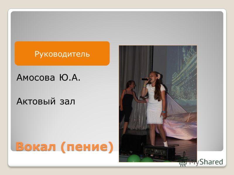 Руководитель Вокал (пение) Амосова Ю.А. Актовый зал Руководитель