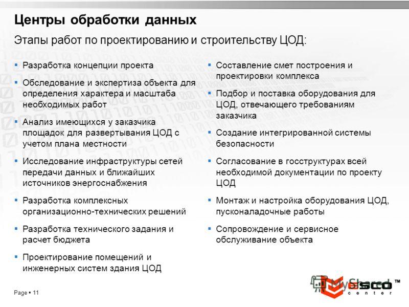 YOUR LOGO Page 11 Центры обработки данных Этапы работ по проектированию и строительству ЦОД: Разработка концепции проекта Обследование и экспертиза объекта для определения характера и масштаба необходимых работ Анализ имеющихся у заказчика площадок д