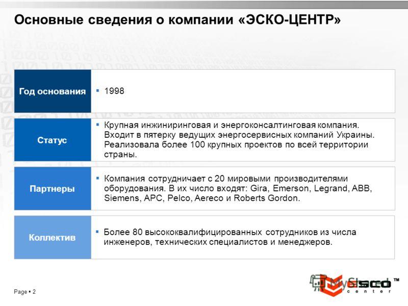 YOUR LOGO Page 2 Основные сведения о компании «ЭСКО-ЦЕНТР» 1998 Год основания Крупная инжиниринговая и энергоконсалтинговая компания. Входит в пятерку ведущих энергосервисных компаний Украины. Реализовала более 100 крупных проектов по всей территории
