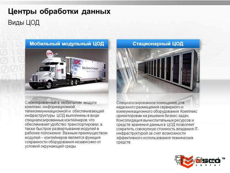 YOUR LOGO Мобильный модульный ЦОД Смонтированный в мобильном модуле комплекс информационной, телекоммуникационной и обеспечивающей инфраструктуры. ЦОД выполнены в виде специализированных контейнеров, что обеспечивает удобство транспортировки, а также