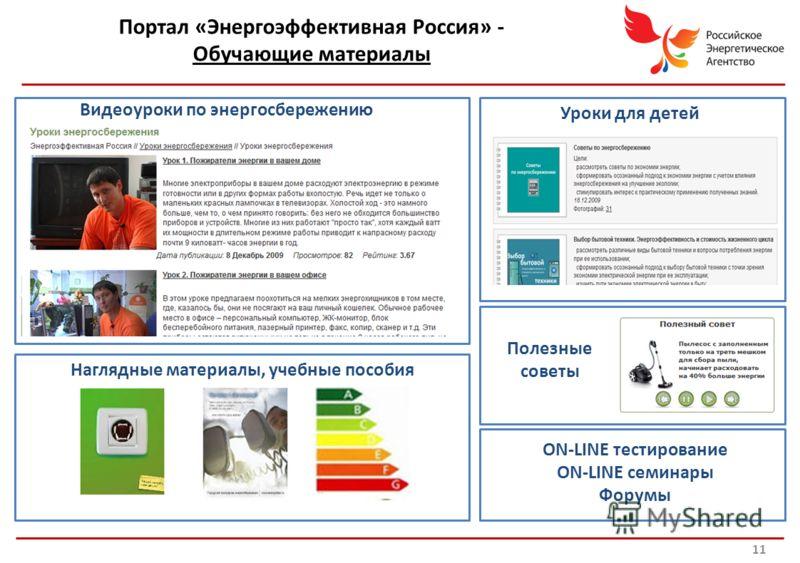 Портал «Энергоэффективная Россия» - Обучающие материалы Детские уроки Видеоуроки по энергосбережению Уроки для детей Полезные советы Наглядные материалы, учебные пособия ON-LINE тестирование ON-LINE семинары Форумы 11