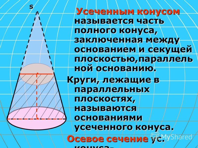 S Усеченным конусом называется часть полного конуса, заключенная между основанием и секущей плоскостью,параллель ной основанию. Усеченным конусом называется часть полного конуса, заключенная между основанием и секущей плоскостью,параллель ной основан
