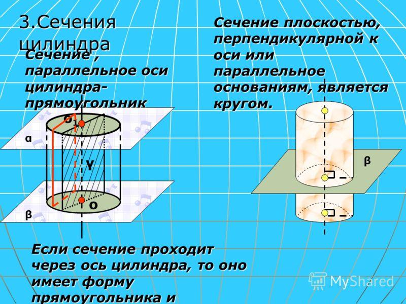 Если сечение проходит через ось цилиндра, то оно имеет форму прямоугольника и называется «осевым» Сечение плоскостью, перпендикулярной к оси или параллельное основаниям, является кругом. β α β о о1о1 γ 3.Сечения цилиндра Сечение, параллельное оси цил