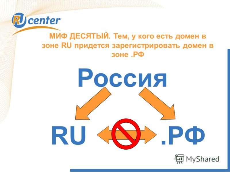 МИФ ДЕСЯТЫЙ. Тем, у кого есть домен в зоне RU придется зарегистрировать домен в зоне.РФ Россия.РФRU