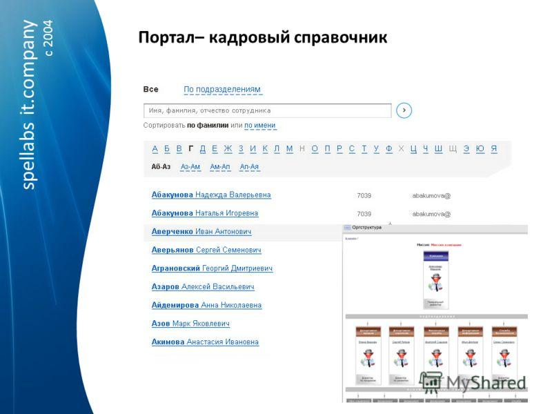 spellabs it.company c 2004 Портал– кадровый справочник