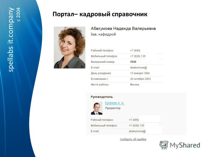 spellabs it.company c 2004 Портал– кадровый справочник Зав. кафедрой Проректор