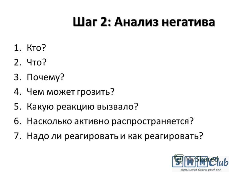 Шаг 2: Анализ негатива 1.Кто? 2.Что? 3.Почему? 4.Чем может грозить? 5.Какую реакцию вызвало? 6.Насколько активно распространяется? 7.Надо ли реагировать и как реагировать?