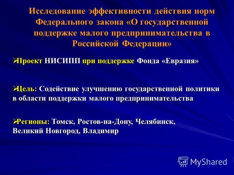 Исследование эффективности действия норм Федерального закона «О государственной поддержке малого предпринимательства в Российской Федерации» Проект НИСИПП при поддержке Фонда «Евразия» Проект НИСИПП при поддержке Фонда «Евразия» Цель: Содействие улуч