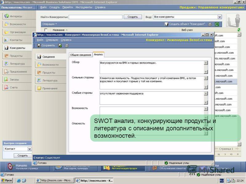 SWOT анализ, конкурирующие продукты и литература с описанием дополнительных возможностей.