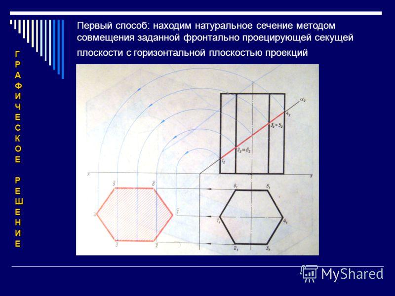 Первый способ: находим натуральное сечение методом совмещения заданной фронтально проецирующей секущей плоскости с горизонтальной плоскостью проекций ГРАФИЧЕСКОЕРЕШЕНИЕ
