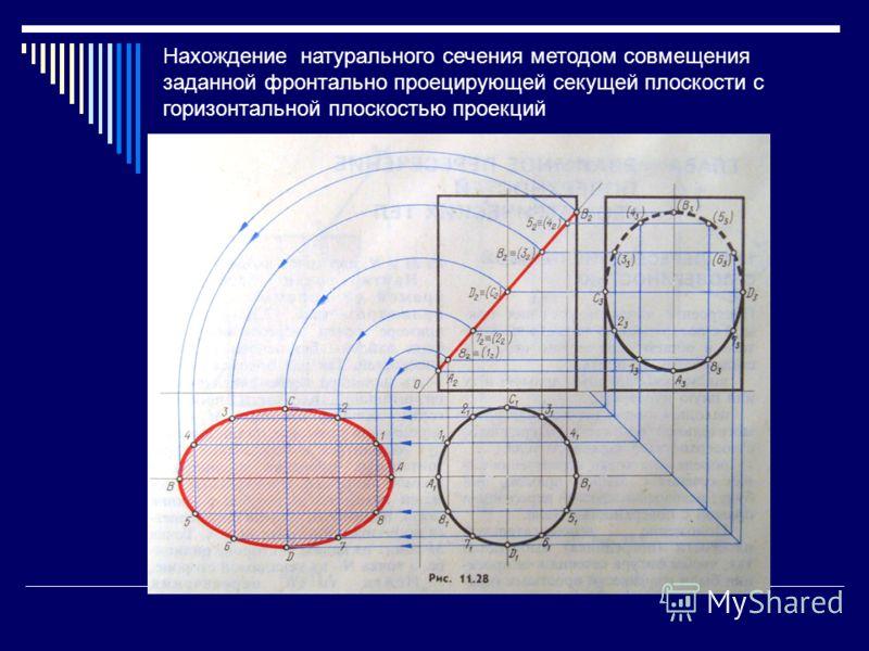 Нахождение натурального сечения методом совмещения заданной фронтально проецирующей секущей плоскости с горизонтальной плоскостью проекций