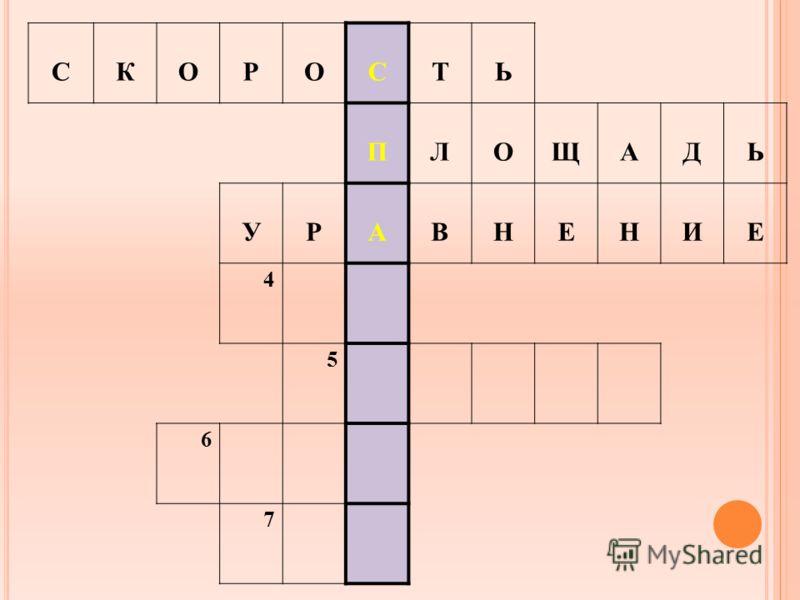 СКОРОСТЬ ПЛОЩАДЬ УРАВНЕНИЕ 4 5 6 7