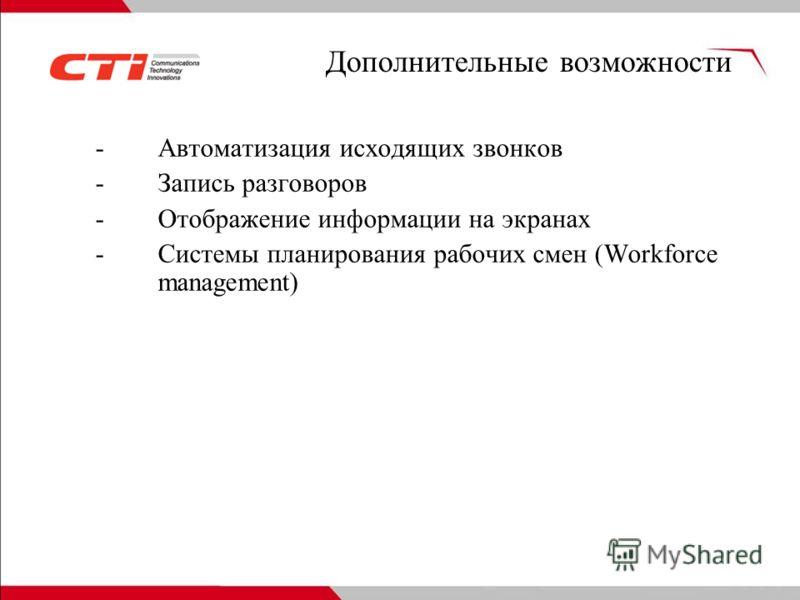 Дополнительные возможности -Автоматизация исходящих звонков -Запись разговоров -Отображение информации на экранах -Системы планирования рабочих смен (Workforce management)