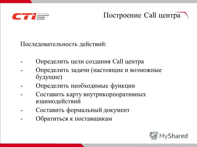 Построение Call центра Последовательность действий: -Определить цели создания Call центра -Определить задачи (настоящие и возможные будущие) -Определить необходимые функции -Составить карту внутрикорпоративных взаимодействий -Составить формальный док