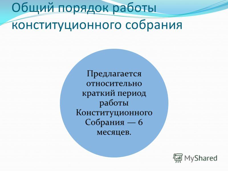 Общий порядок работы конституционного собрания Предлагается относительно краткий период работы Конституционного Собрания 6 месяцев.