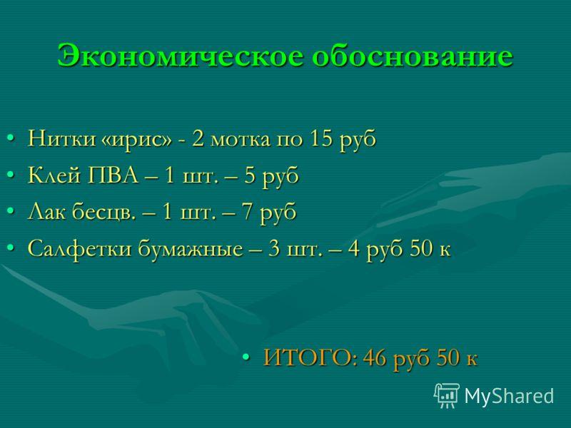 Экономическое обоснование Нитки «ирис» - 2 мотка по 15 руб Клей ПВА – 1 шт. – 5 руб Лак бесцв. – 1 шт. – 7 руб Салфетки бумажные – 3 шт. – 4 руб 50 к ИТОГО: 46 руб 50 к