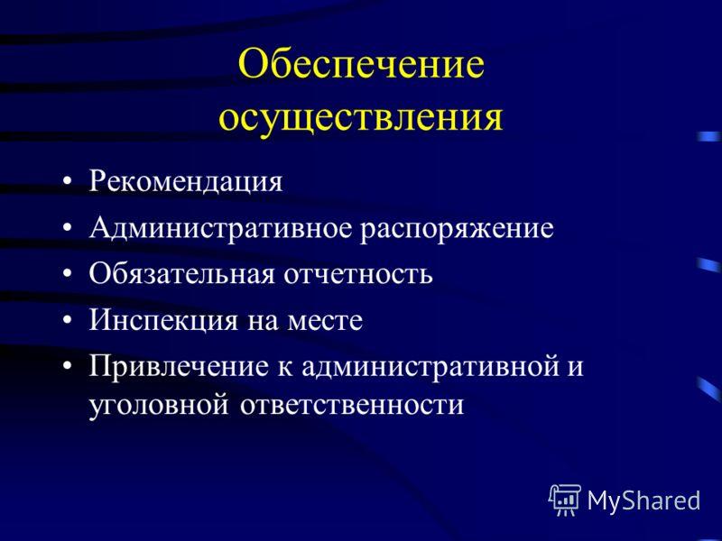 Обеспечение осуществления Рекомендация Административное распоряжение Обязательная отчетность Инспекция на месте Привлечение к административной и уголовной ответственности