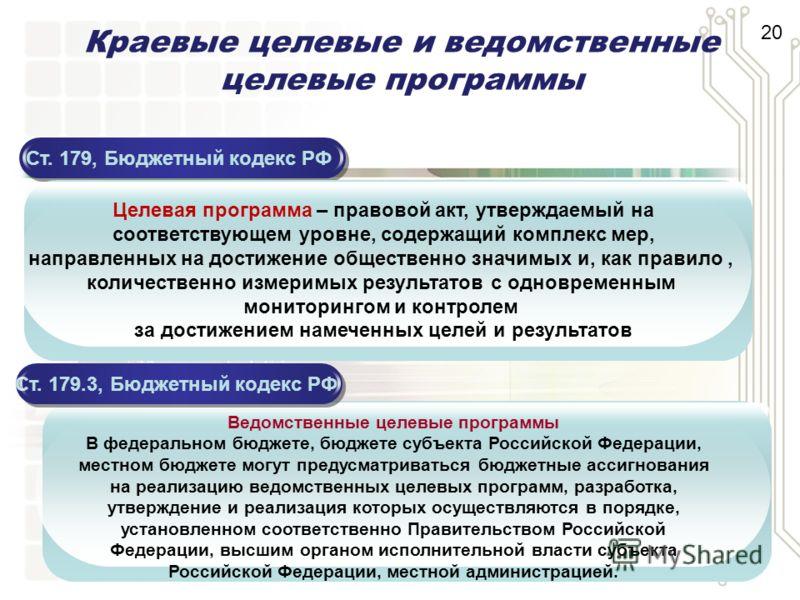Краевые целевые и ведомственные целевые программы Ст. 179, Бюджетный кодекс РФ Целевая программа – правовой акт, утверждаемый на соответствующем уровне, содержащий комплекс мер, направленных на достижение общественно значимых и, как правило, количест