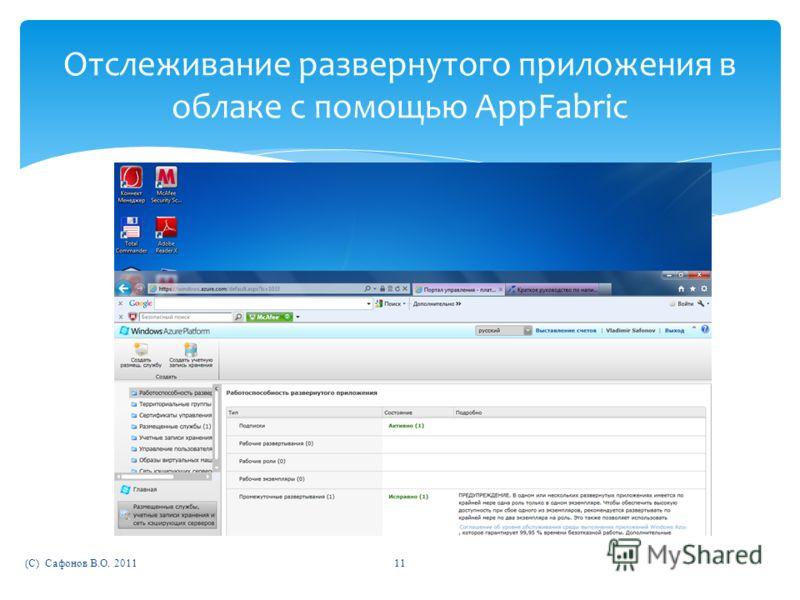 (C) Сафонов В.О. 201111 Отслеживание развернутого приложения в облаке с помощью AppFabric