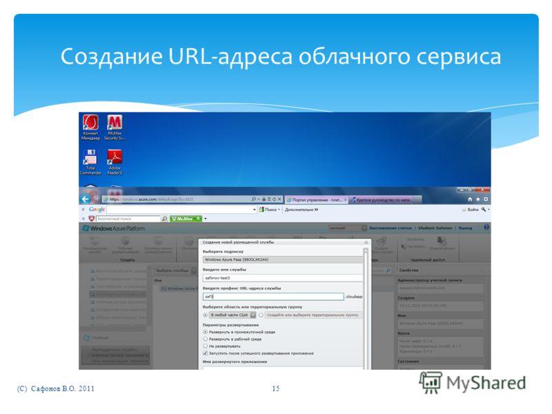 (C) Сафонов В.О. 201115 Создание URL-адреса облачного сервиса