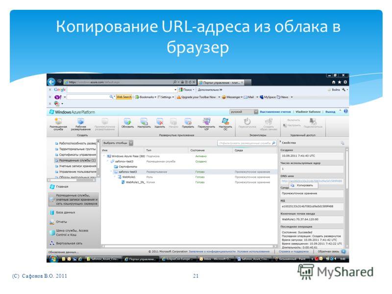 (C) Сафонов В.О. 201121 Копирование URL-адреса из облака в браузер